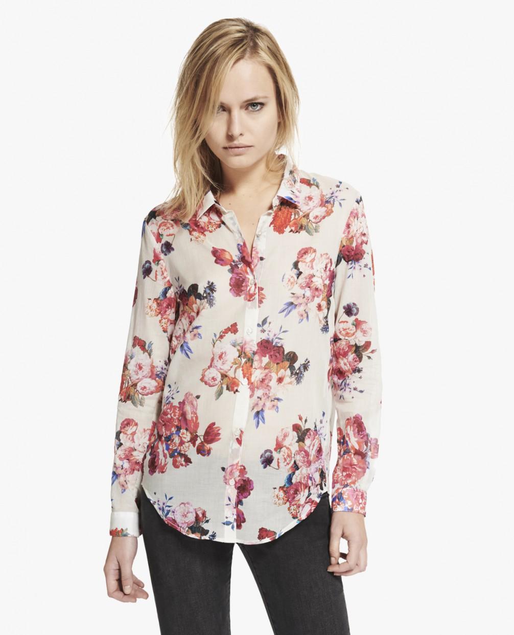 "Boyfriend shirt with ""Big Summer Flowers"" print - Shirt - Woman - The Kooples"