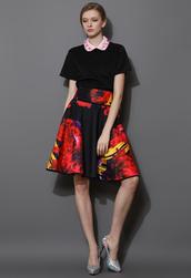 skirt,flaming,floral,print,midi skirt