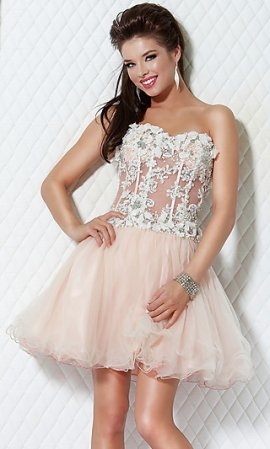 Pink Strapless Corset Top Lace Tulle Short Prom Dress JO-17 [JO ...
