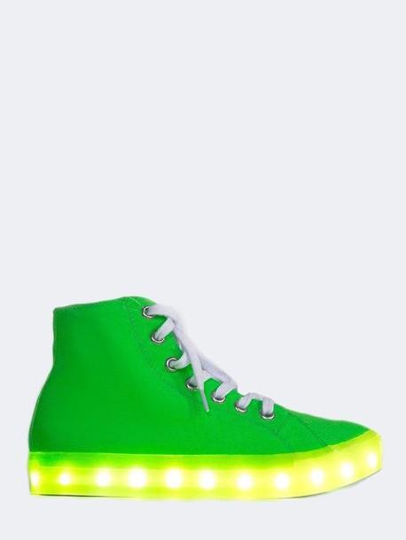 178ce7d5c7a shoes neon green high tops light-up light up shoes
