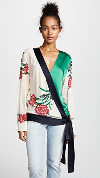 Diane Von Furstenberg blouse pearl navy top