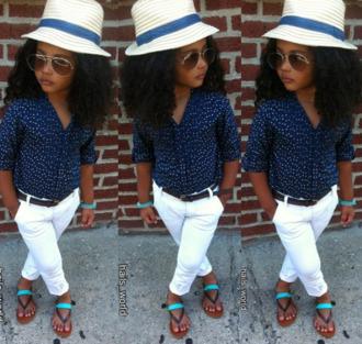 blouse blue shirt spots white pants sandels hat girl girly kids fashion toddler diva sunglasses little diva cardigan cute