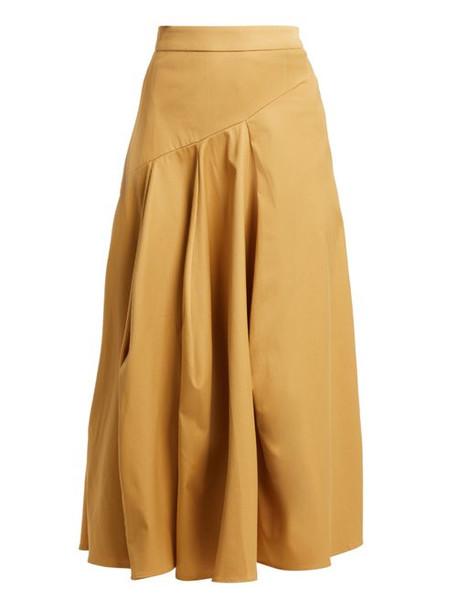 Palmer/harding Palmer//harding - A Line Cotton Blend Skirt - Womens - Camel
