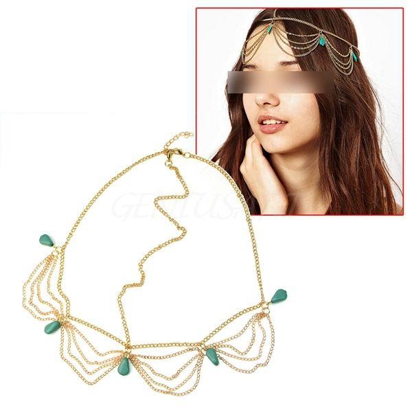 Stylish Chic Boho Punk Turquoise Hair Fringe Tassel Chain Cuff Headband Headwrap | eBay