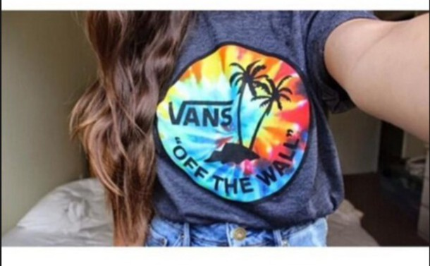 shirt tropical vans off the wall tye  dye rainbow colors