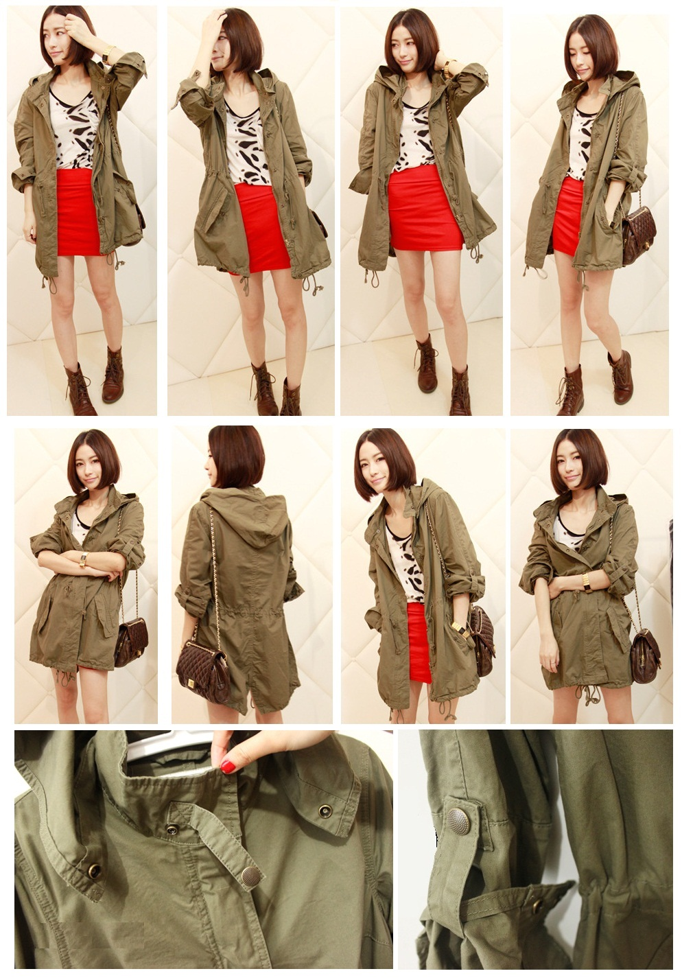 Womens Army Green Military Parka Button Trench Hooded Coat Jacket ...
