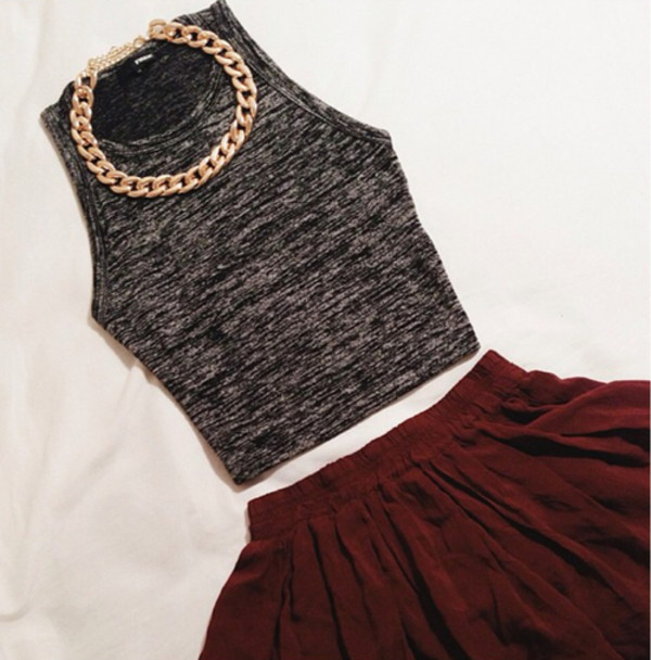 skirt crop tops gold chain shirt jewels tank top
