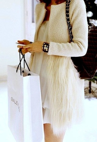 coat fur beige