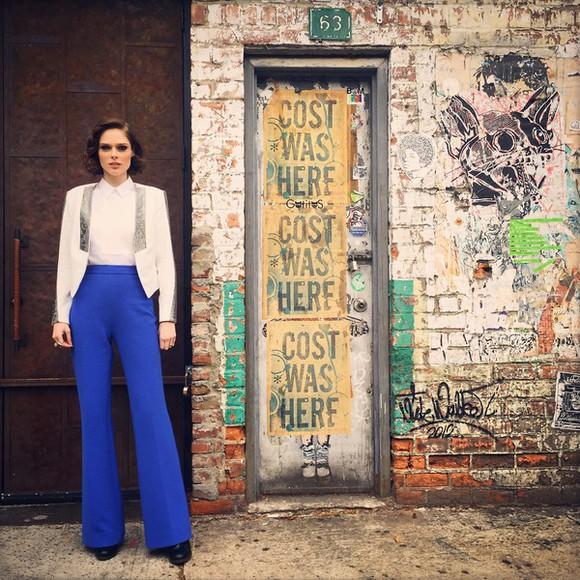 blue pants coco rocha high waisted pants