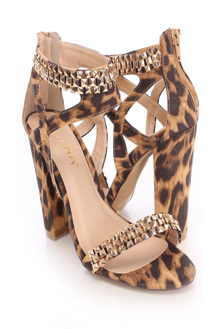 Leopard Studded Single Sole Heels Faux Suede