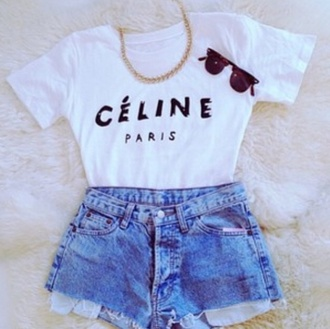 shorts celine paris top black white sunglasses sun summer funny cute tan blonde hair brunette denim vintage acid wash gold chain necklace jewels blu shirt