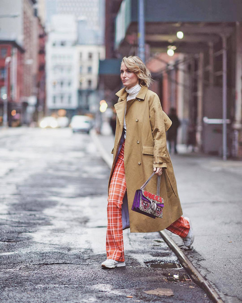 pants tumblr red pants tartan coat camel camel coat trench coat bag sneakers streetstyle