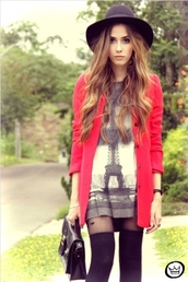 paris,dress,fashion,style,tunic,print,eiffel tower,coat,top,cardigan,jacket,tights,sheer,stockings,purse,hat,chic,cool