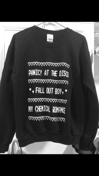 sweater fall out boy panic! at the disco my chemical romance band grey sweater tumblr sweater
