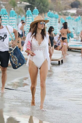 swimwear one piece swimsuit white swimwear alessandra ambrosio model off-duty summer beach hat