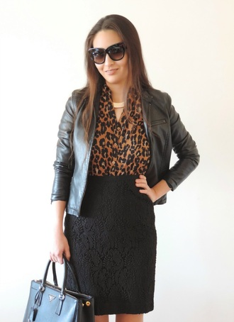 sensible stylista blogger prada bag leopard print high waisted skirt lace skirt black sunglasses leather jacket black skirt