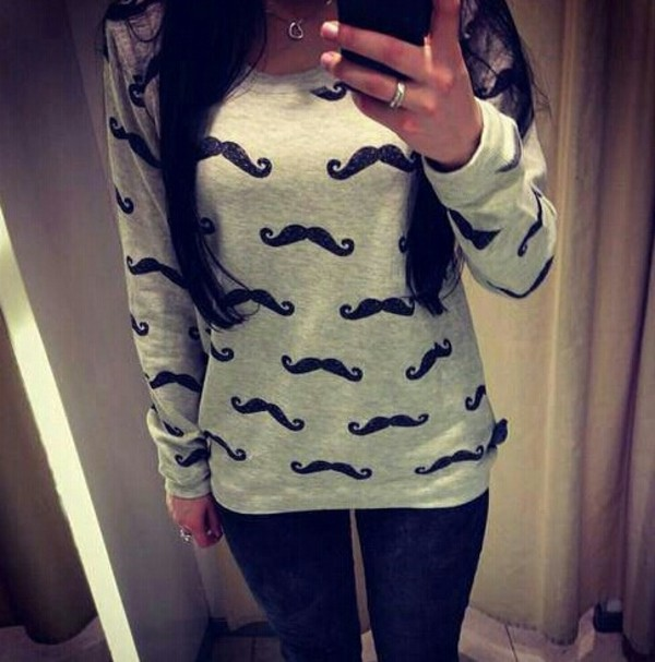 sweater moustache winter sweater