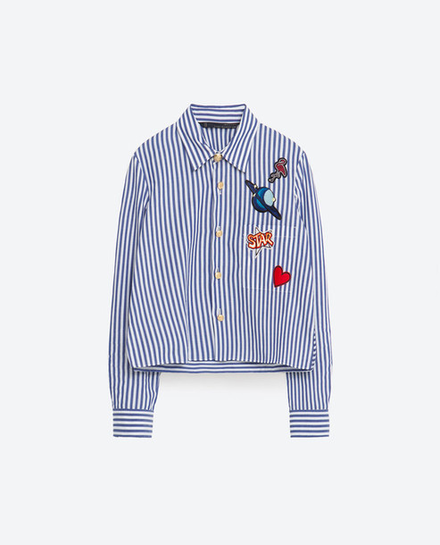 4c386ed4f9 shirt blue shirt stripes crop tops crop cropped striped shirt patch zara  embroidered stars heart flamingo