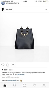 bag,cats,bucket bag,animal,cute,charlotte olympia,black leather bag,black and gold