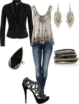 coat jacket blouse jewels shoes jeans tank top beige