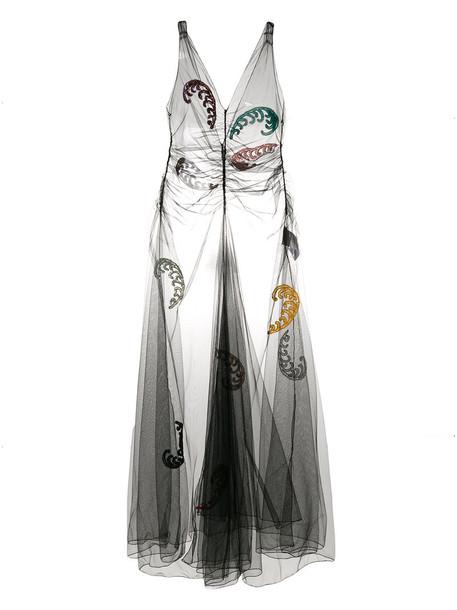 Attico dress mesh dress embroidered mesh women cotton black