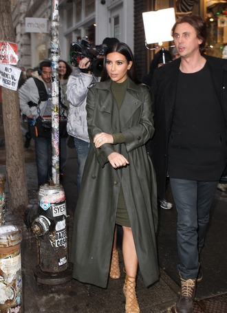 winter coat long coat green dress kim kardashian coat