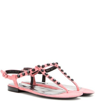 studded classic sandals suede pink shoes