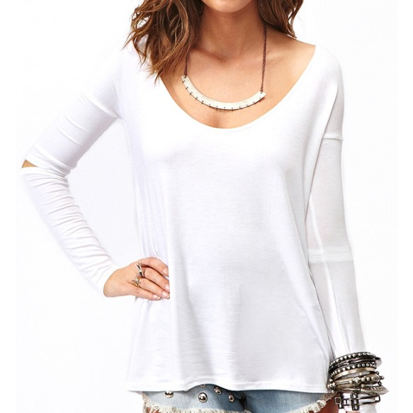Dip Hem Top With Cutout Sleeve Detail at Style Moi