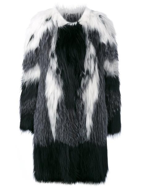 coat oversized coat oversized fur fox women spandex black