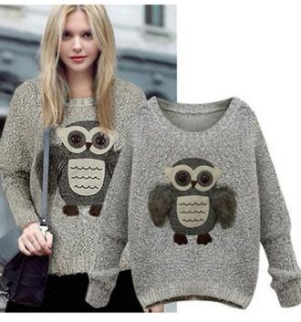 grey sweater owl fall sweater holiday season