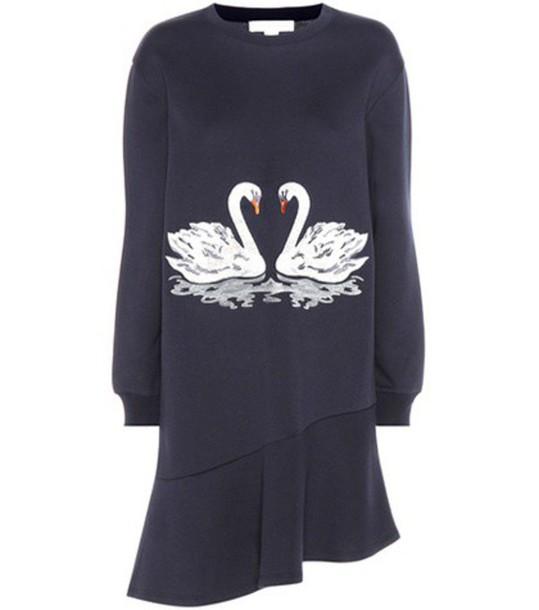Stella McCartney Embroidered Cotton-blend Dress in blue