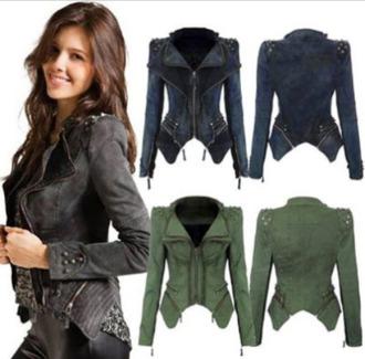 coat jacket veste jeans clous studs studz leather jacket black white green grey