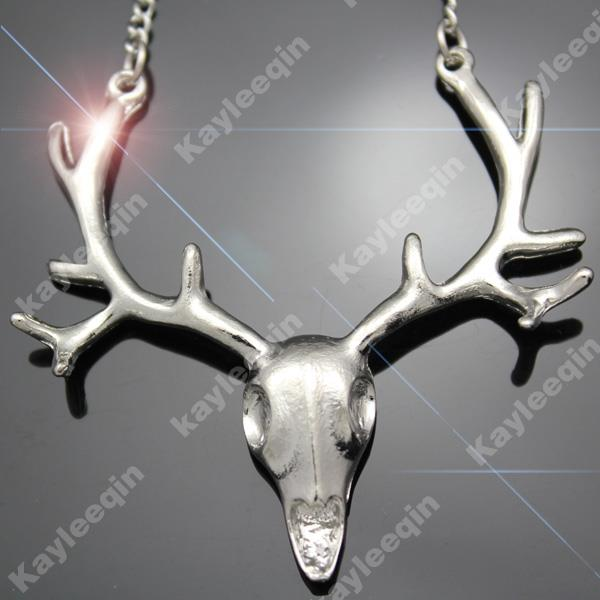 Polish Silver DEER HEAD Horn Elk Skull Antler Stag Pendant Necklace Costume Punk | eBay