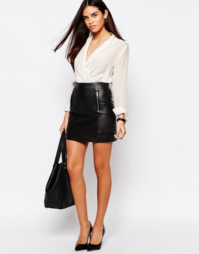f06a9d1275 Warehouse Premium Leather Zip Detail Skirt at asos.com