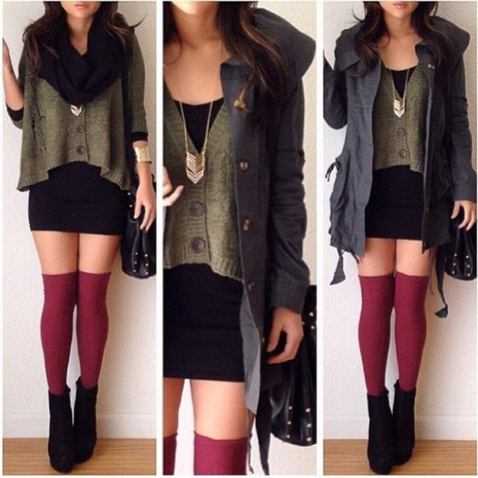 jewels sweater scarf shoes red jacket black necklace dress bag socks underwear green high knee socks wedges scarf red