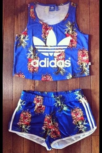 top adidas origins swag dope shirt shorts adidas tropical pineapple cute matching crop top blue shorts jumpsuit adidas wings adidas palm tree print blue skirt shorter