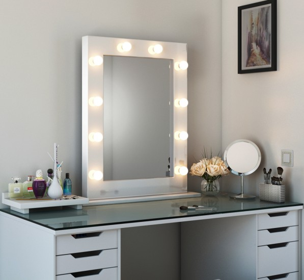 High Gloss Tall Led Hollywood Mirror White High Gloss