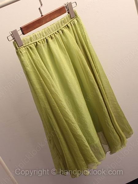 Green Elastic Waist Pleated Skirt - HandpickLook.com