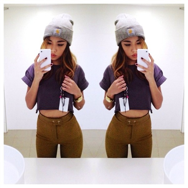 shirt beanie olive green instagram tumblr pants skinny jeans high waisted jeans high waisted clothes purple t-shirt crop tops