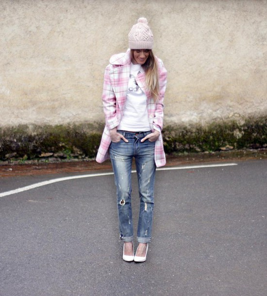 rebel attitude blogger t-shirt ripped jeans pom pom beanie pink coat adidas coat jeans shoes hat