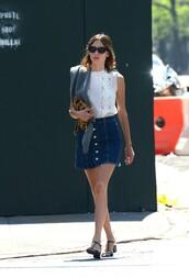 skirt,top,denim skirt,alexa chung,sandals,shoes,blouse