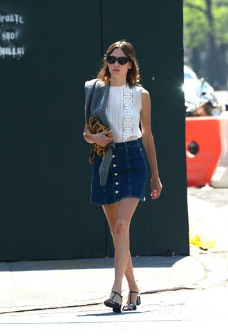 skirt top denim skirt alexa chung sandals shoes blouse
