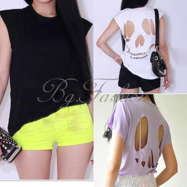 S XXL Sexy Women Casual Sleeveless Skull Back Hollow Cut Out Blouse T Shirt Tops | eBay