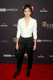 blouse,pants,black and white,emma watson