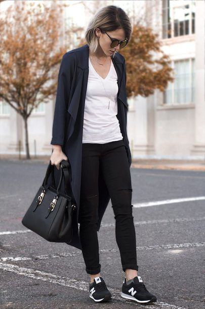 shoes white t-shirt black cardigan black trousers new balance sneakers blogger sunglasses