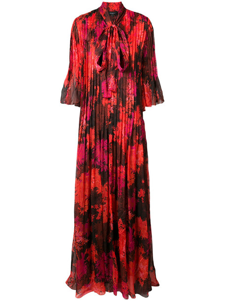 dress floral dress pleated women floral silk red