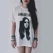 t-shirt,lana del rey,shirt,band t-shirt,indie,grunge,lana del rey shirt,long shirt,blouse,band merch,white t-shirt,black t-shirt,white,black,lana