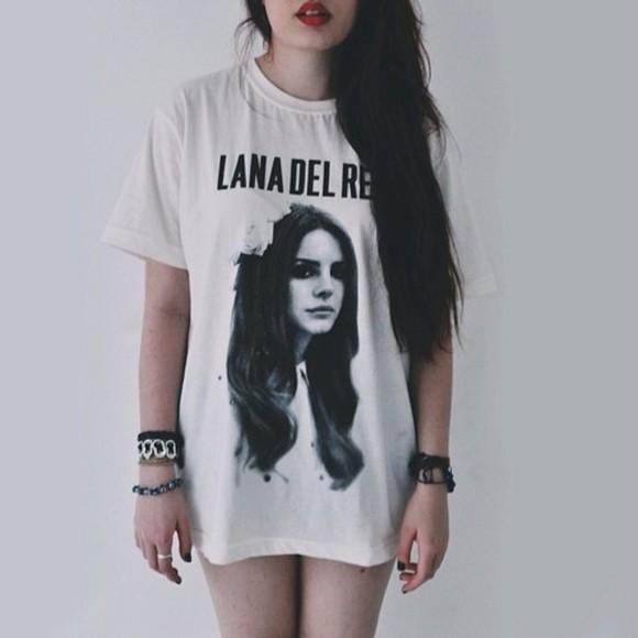 lana del rey lana del rey shirt black and white t-shirt shirt band t-shirt long shirt indie grunge lana del rey black white