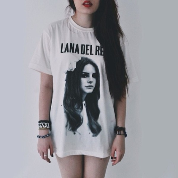 t-shirt lana del rey shirt band t-shirt indie grunge lana del rey shirt long shirt lanadelrey black white blouse black and white band merch white t-shirt black t-shirt lana