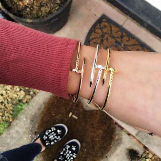 jewels cherry diva bracelets stacked bracelets nail bangle nail bracelet screw bracelet gold bracelet silver bracelet silver jewelry